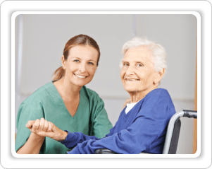 caregiver caring an old woman