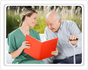caregiver caring an old man
